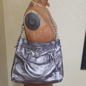 Pewter Leather michael kors purse with lock